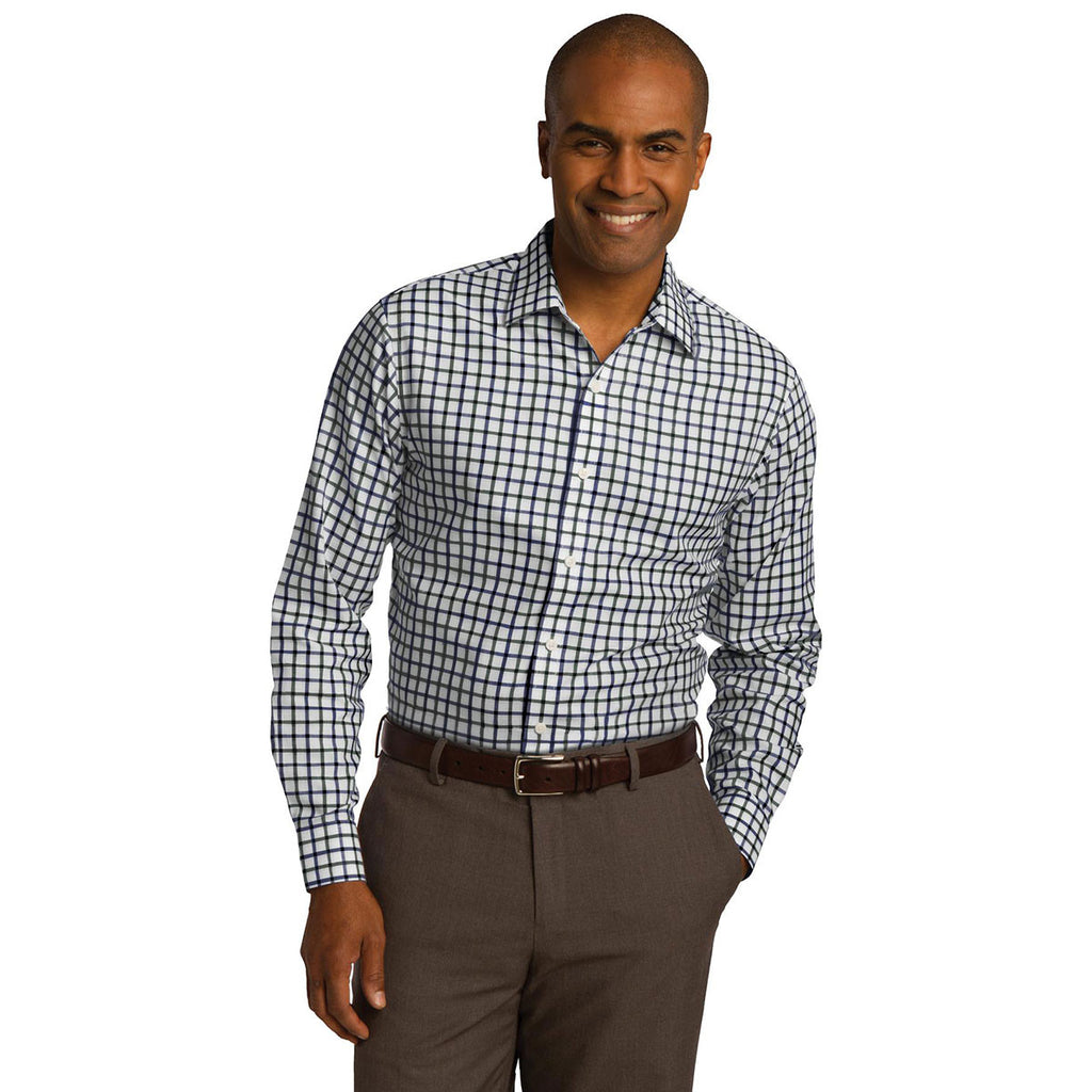 Red House Men's Dark Green/Navy/White Tricolor Check Slim Fit Non-Iron Shirt