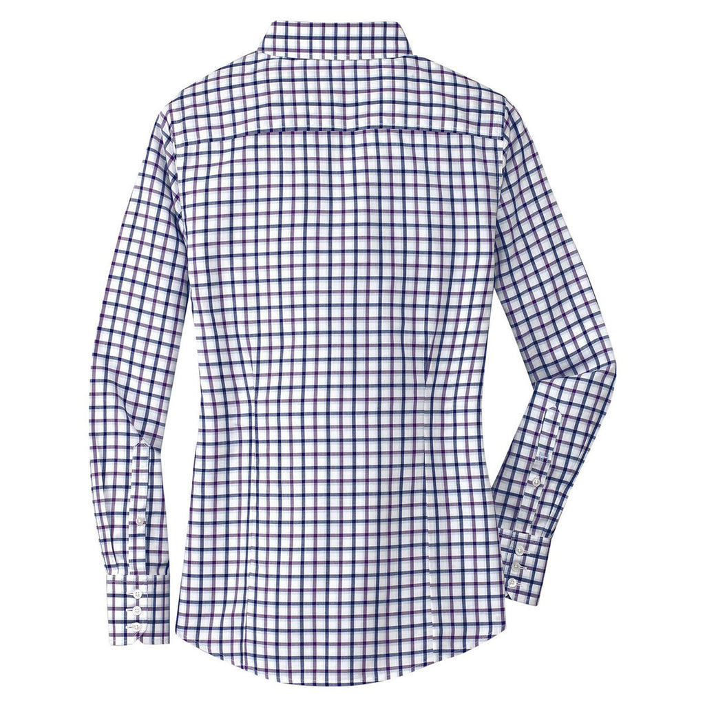 Red House Women's Navy/Plum/White Tricolor Check Non-Iron Shirt