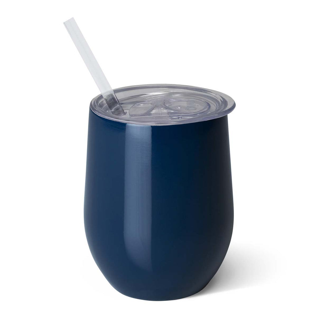 Swig Navy 12 oz Stemless Wine Cup