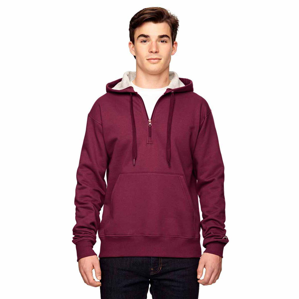 0873ca6d4577 Champion Men s Sport Maroon for Team 365 Cotton Max Fleece Quarter-Zip