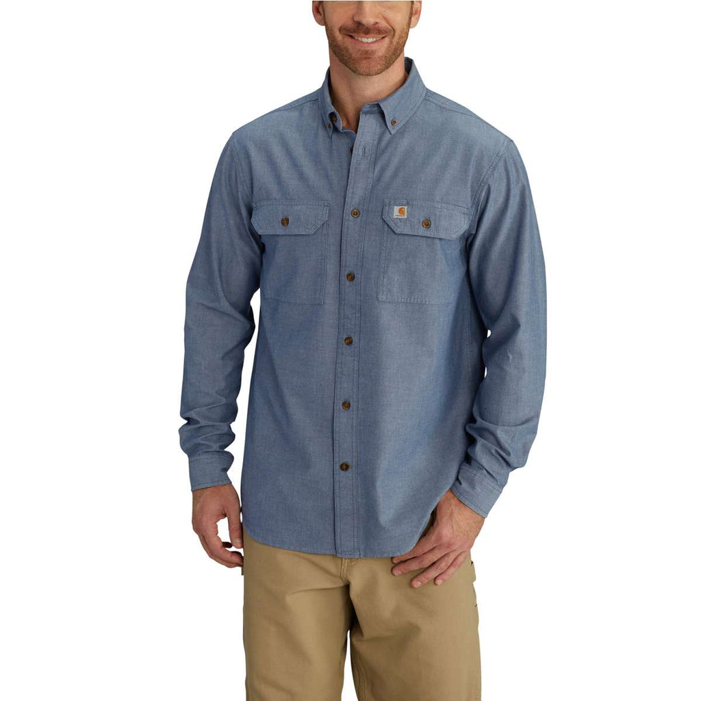 Carhartt Men's Denim Blue Chambray Fort Solid L/S Shirt
