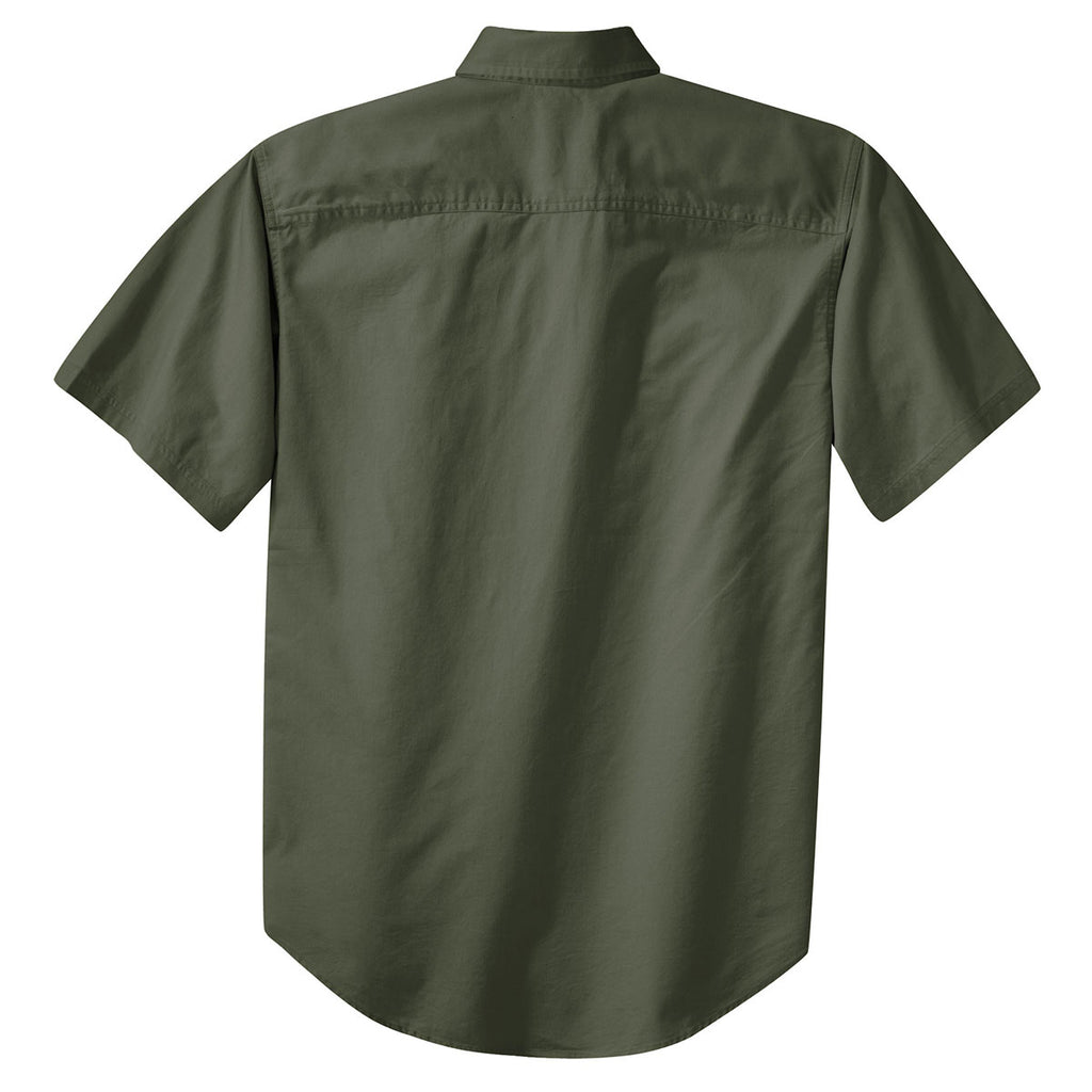 Port Authority Men's Faded Olive Short Sleeve Twill Shirt