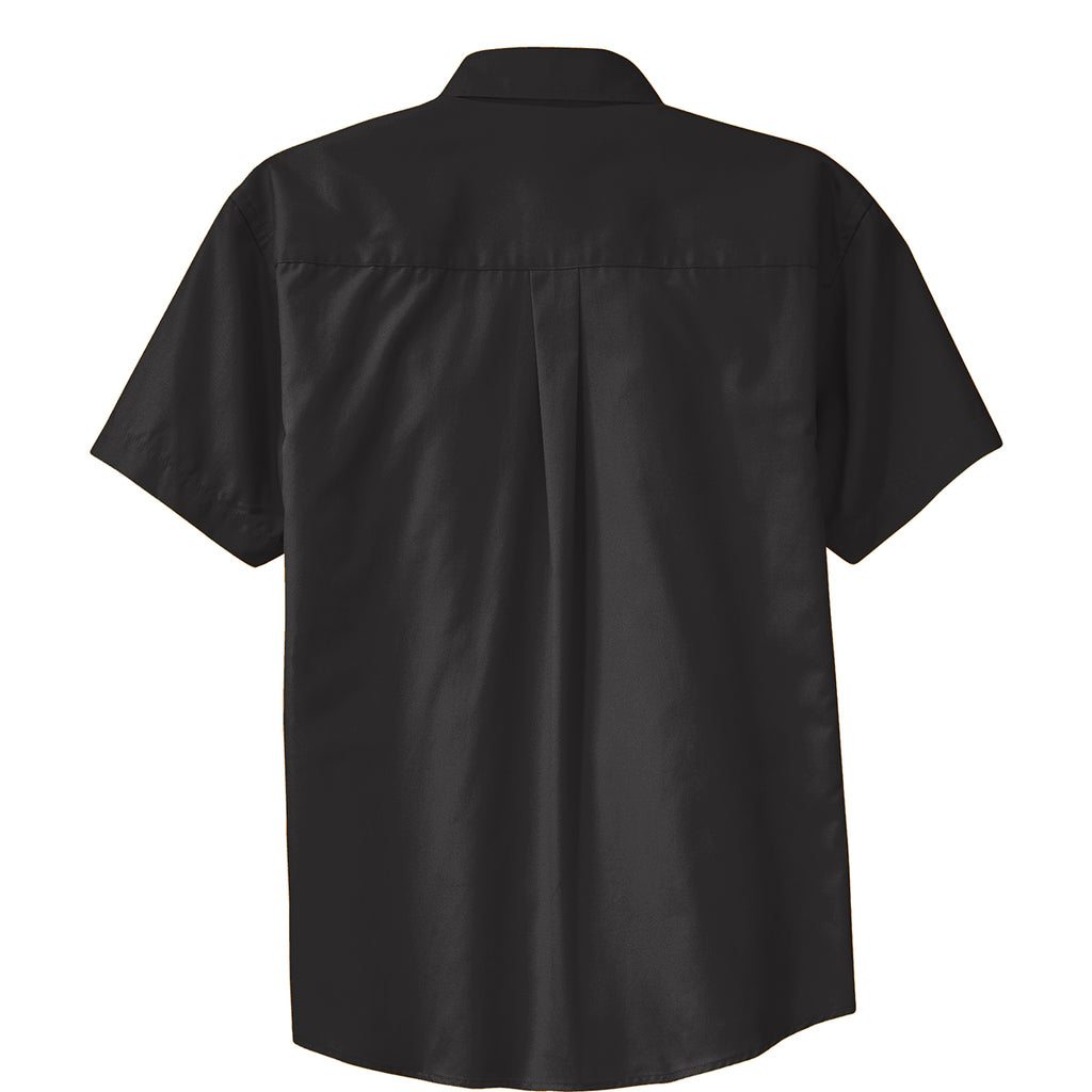 Port Authority Men's Black/Light Stone Short Sleeve Easy Care Shirt