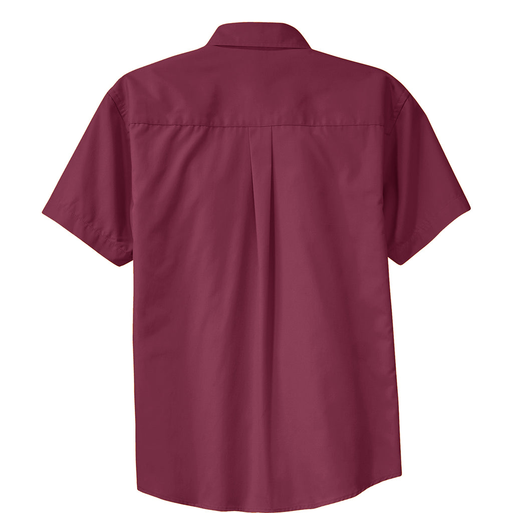 Port Authority Men's Burgundy/Light Stone Short Sleeve Easy Care Shirt