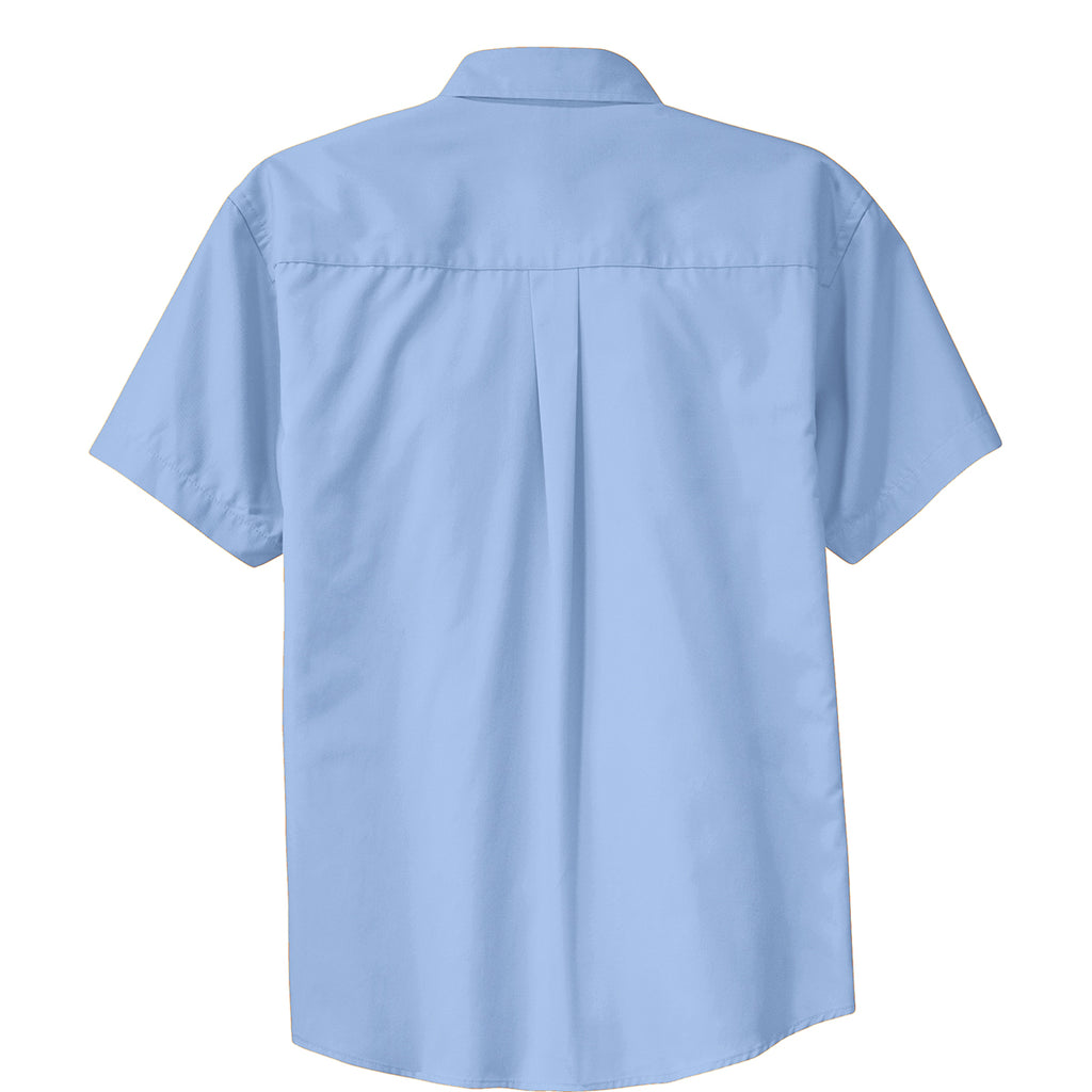 Port Authority Men's Light Blue/Light Stone Short Sleeve Easy Care Shirt