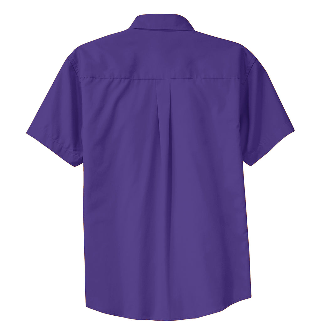 Port Authority Men's Purple/Light Stone Short Sleeve Easy Care Shirt