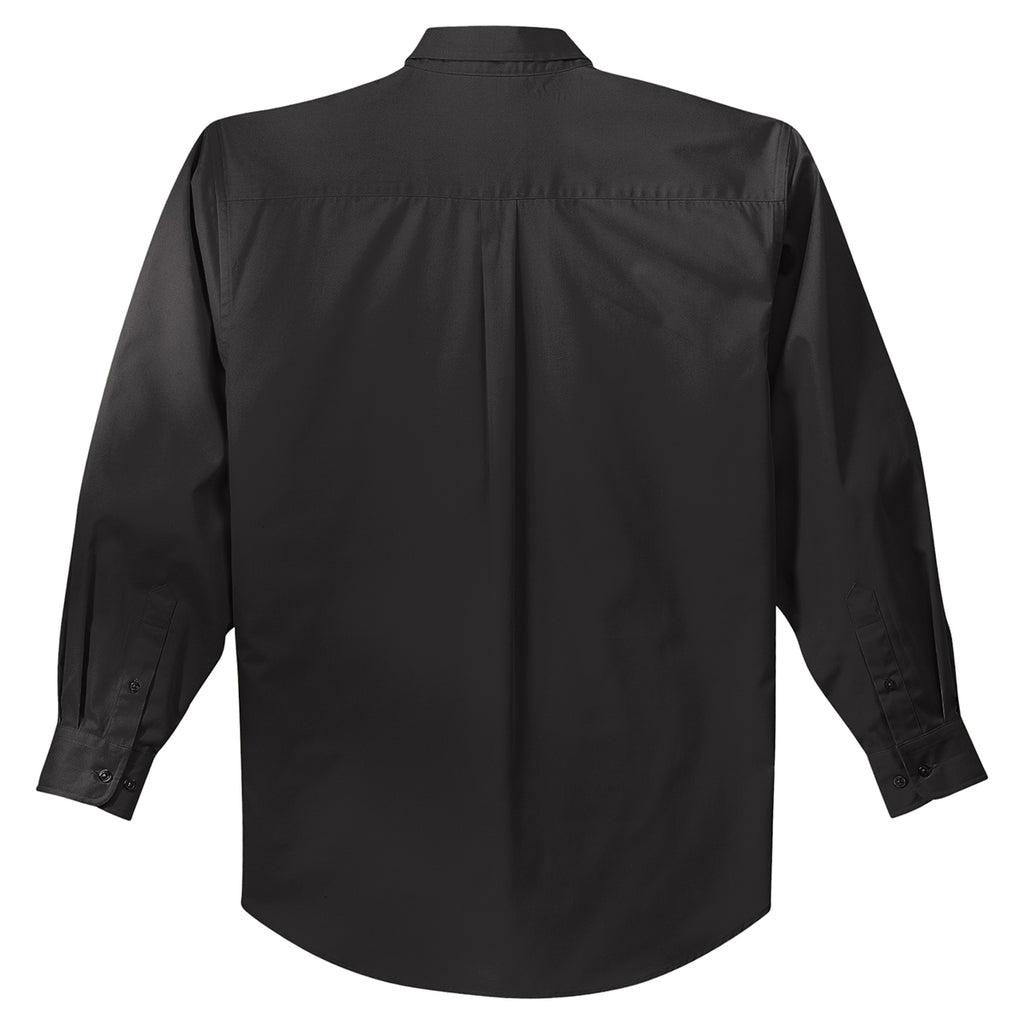 Port Authority Men's Black/Light Stone Extended Size Long Sleeve Easy Care Shirt