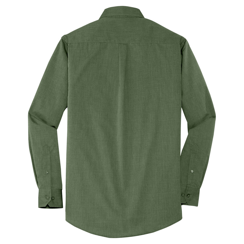Port Authority Men's Dark Cactus Green Crosshatch Easy Care Shirt