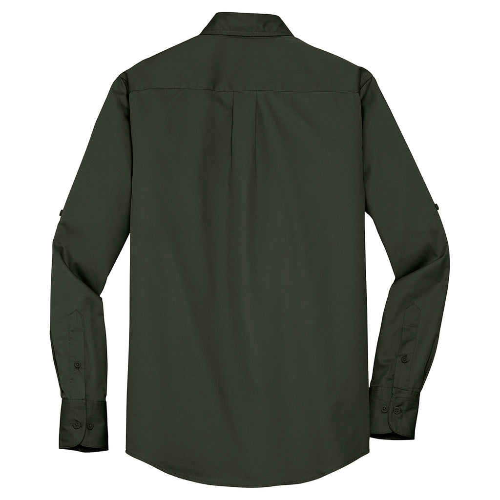 Port Authority Men's Basil Green Stain Resistant Roll Sleeve Twill Shirt