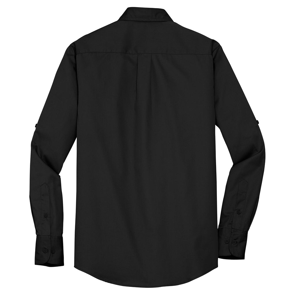 Port Authority Men's Black Stain Resistant Roll Sleeve Twill Shirt