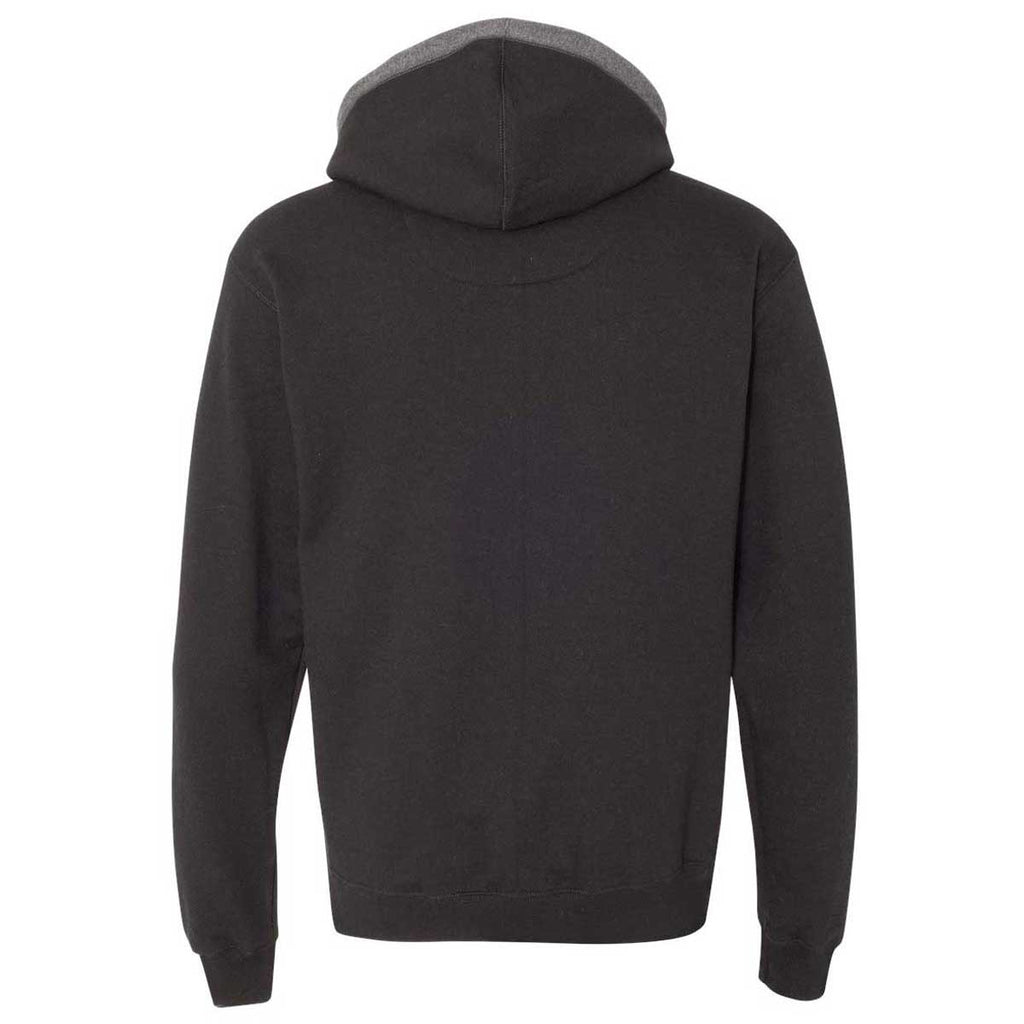 Champion Men's Black/Charcoal Heather Double Dry Eco Colorblocked Hooded Sweatshirt