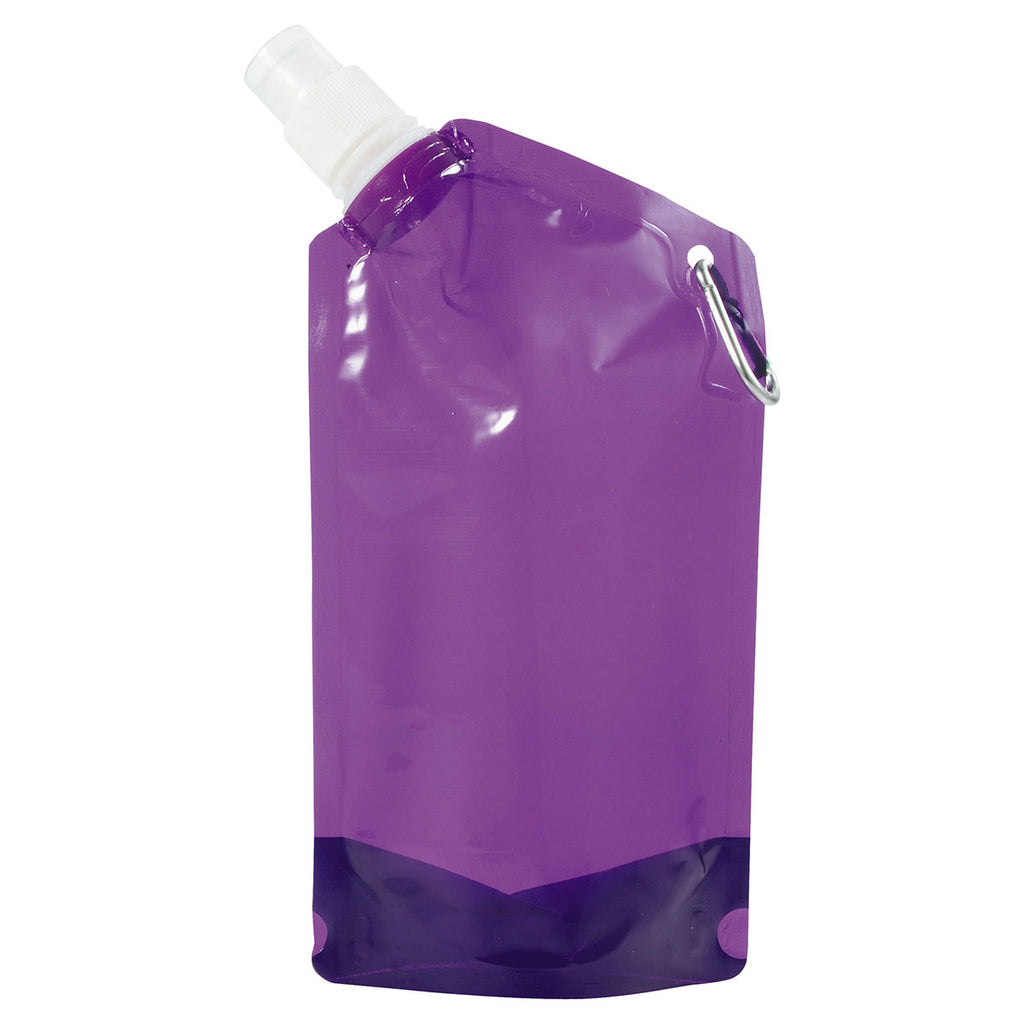Bullet Translucent Purple 20oz Water Bag with Carabiner
