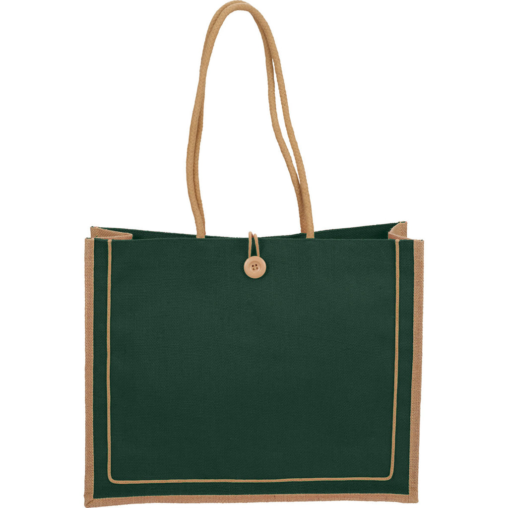 Bullet Hunter Green Jute Button Tote