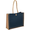 Bullet Navy Blue Jute Button Tote