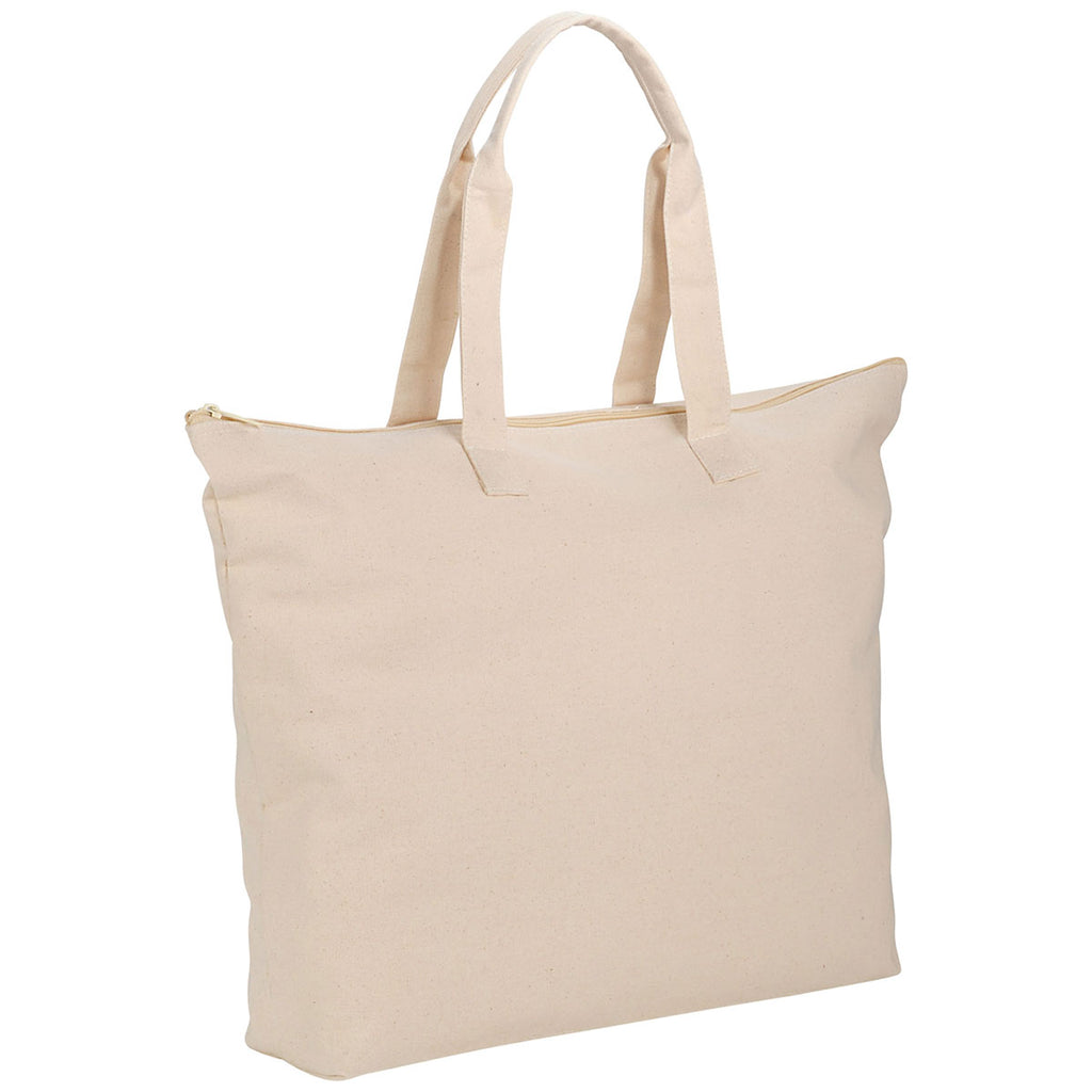 Bullet Natural Basic 10oz Cotton Canvas Zippered Tote