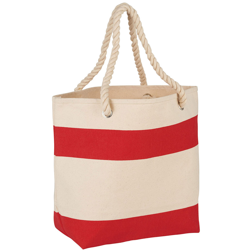 Bullet Red Rope Handle 16oz Cotton Canvas Tote