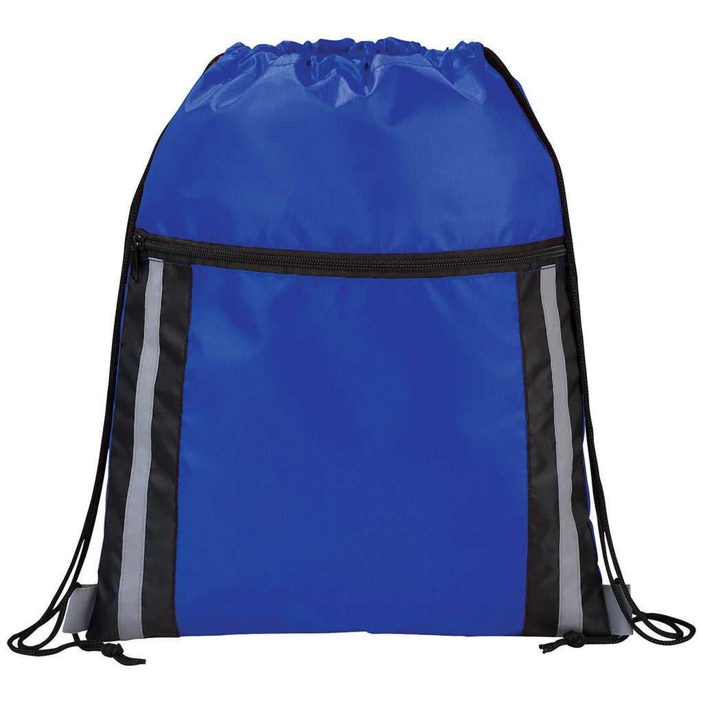 Bullet Royal Blue Deluxe Reflective Drawstring Bag