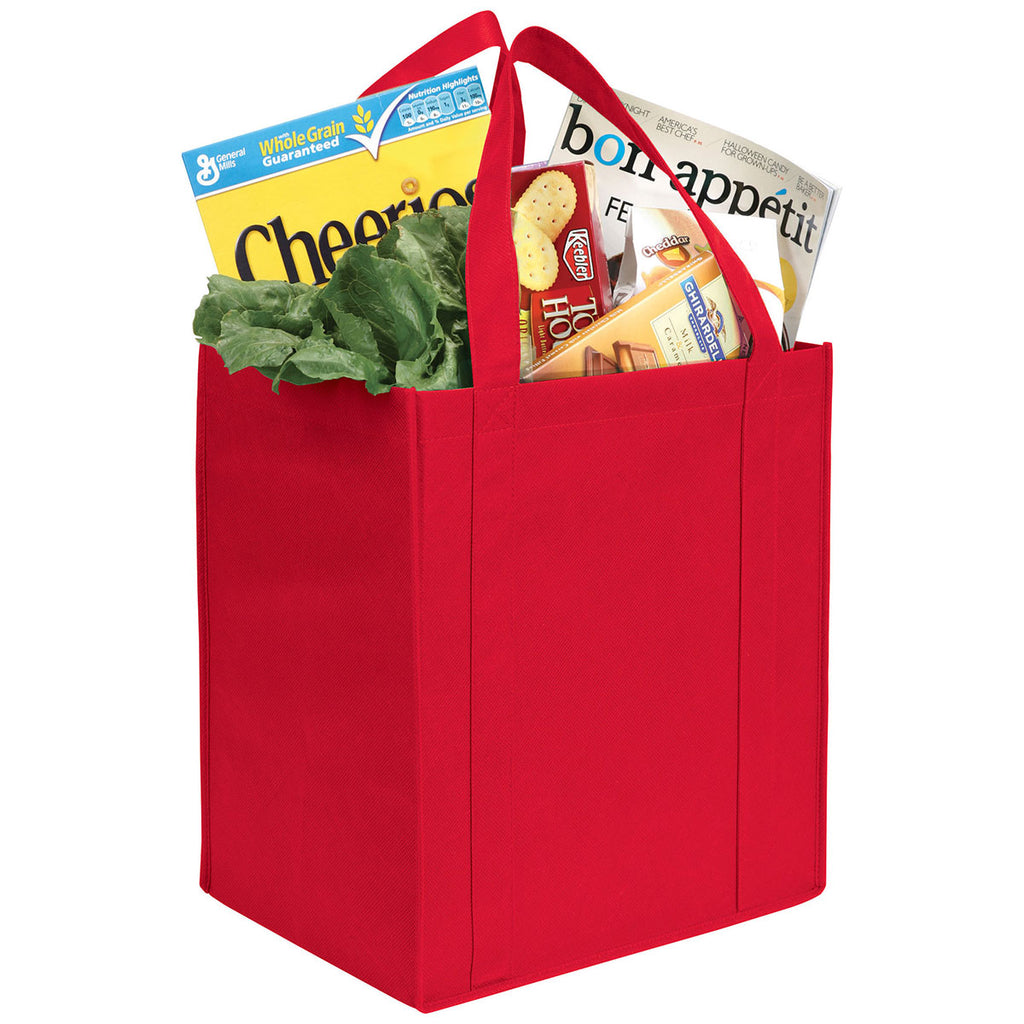 Bullet Red Hercules Non-Woven Grocery Tote