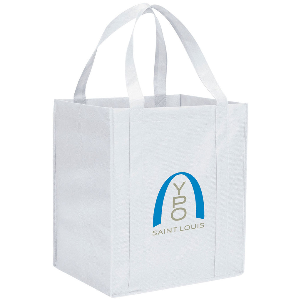 b7af5c521 Bullet White Hercules Non-Woven Grocery Tote. ADD YOUR LOGO