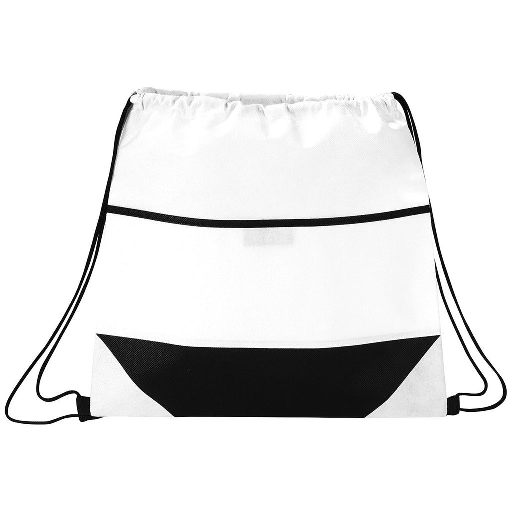 Bullet White Angles Non-Woven Drawstring Bag