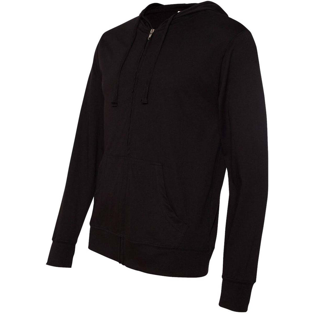 Independent Trading Co. Unisex Black Lightweight Jersey Hooded Full-Zip T-Shirt