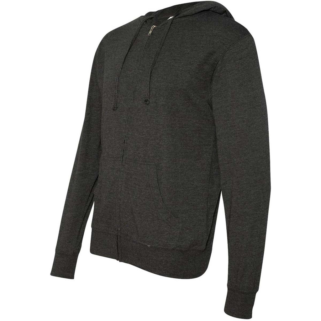 Independent Trading Co. Unisex Charcoal Heather Lightweight Jersey Hooded Full-Zip T-Shirt