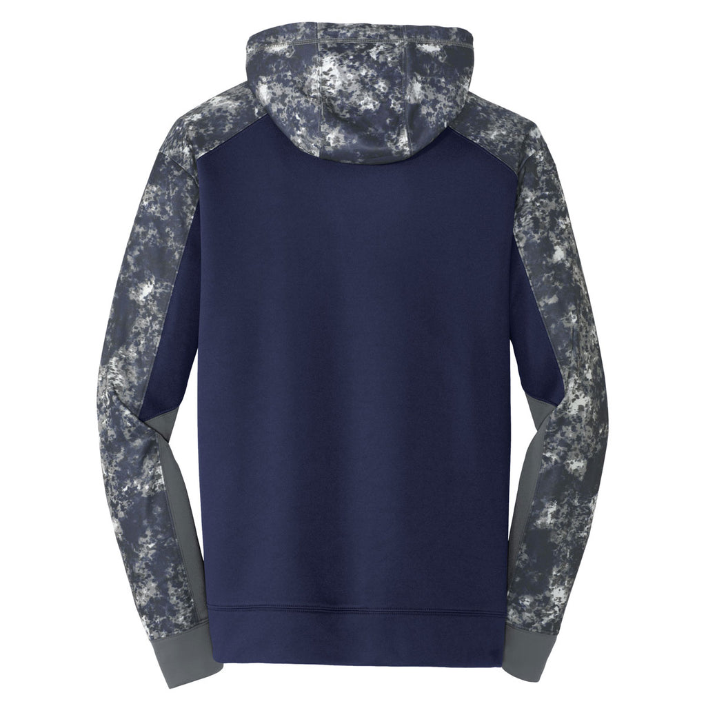 Sport-Tek Men's True Navy/Navy Sport-Wick Mineral Freeze Fleece Colorblock Hooded Pullover