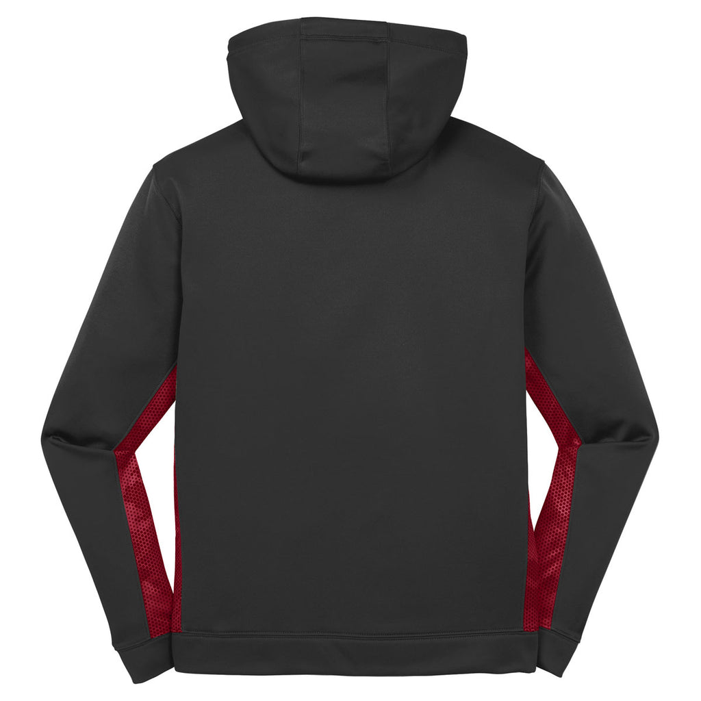 Sport-Tek Men's Black/ Deep Red Sport-Wick CamoHex Fleece Colorblock Hooded Pullover