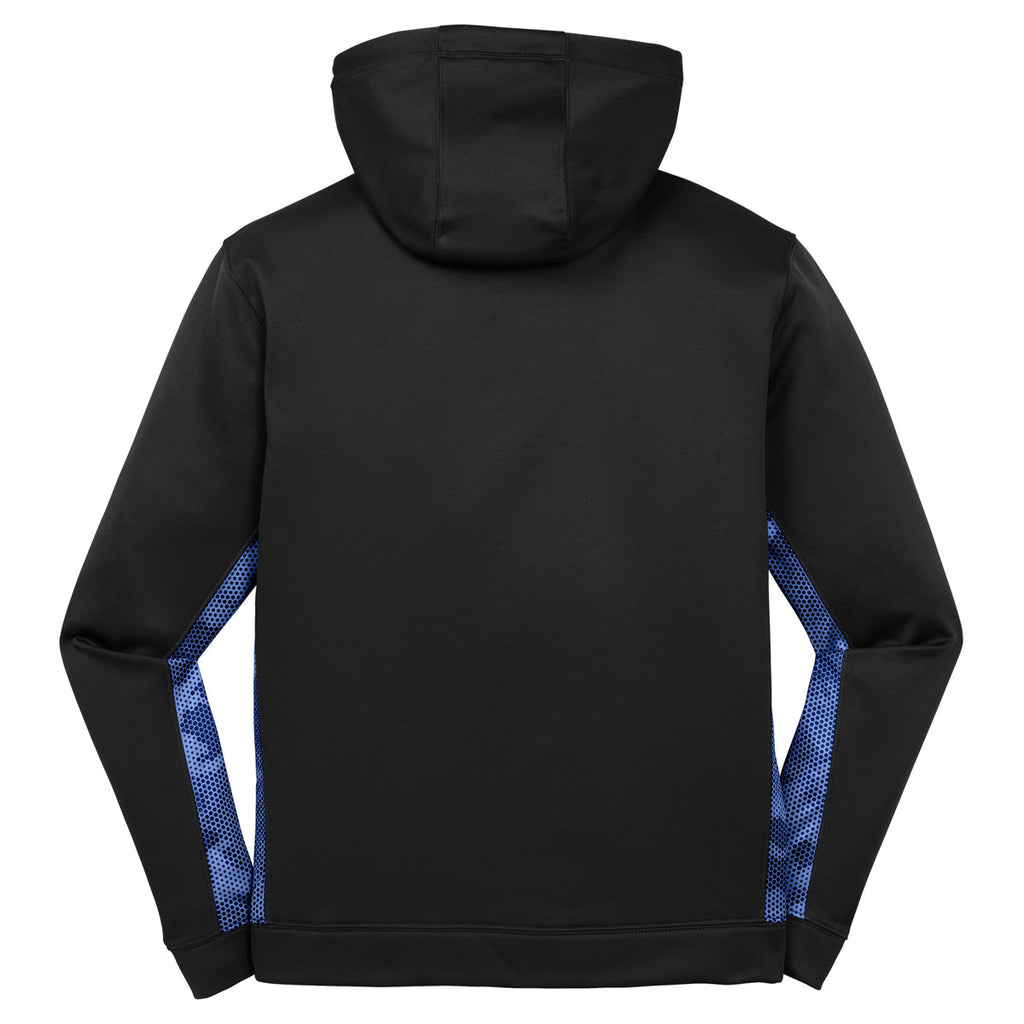 Sport-Tek Men's Black/ True Royal Sport-Wick CamoHex Fleece Colorblock Hooded Pullover