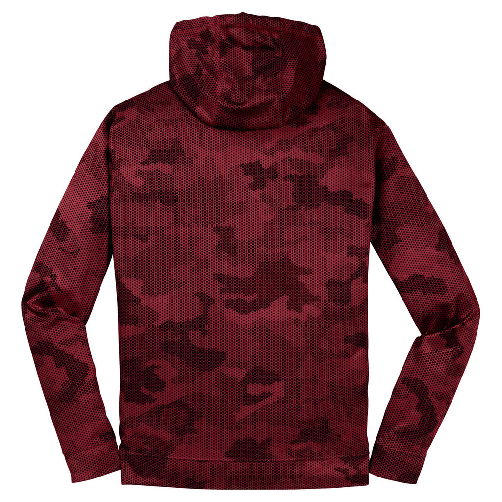 Sport-Tek Men's Deep Red Sport-Wick CamoHex Fleece Hooded Pullover