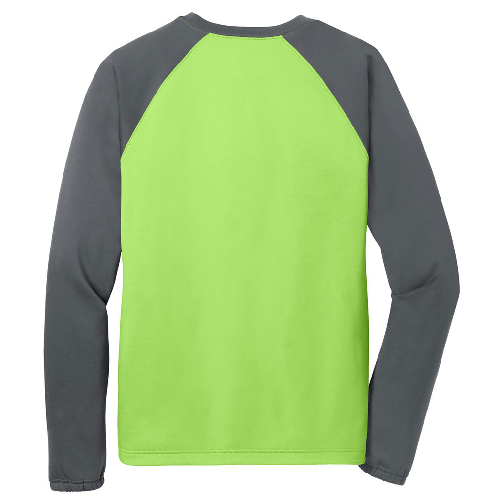Sport-Tek Men's Lime Shock/ Dark Smoke Grey Sport-Wick Raglan Colorblock Fleece Crewneck