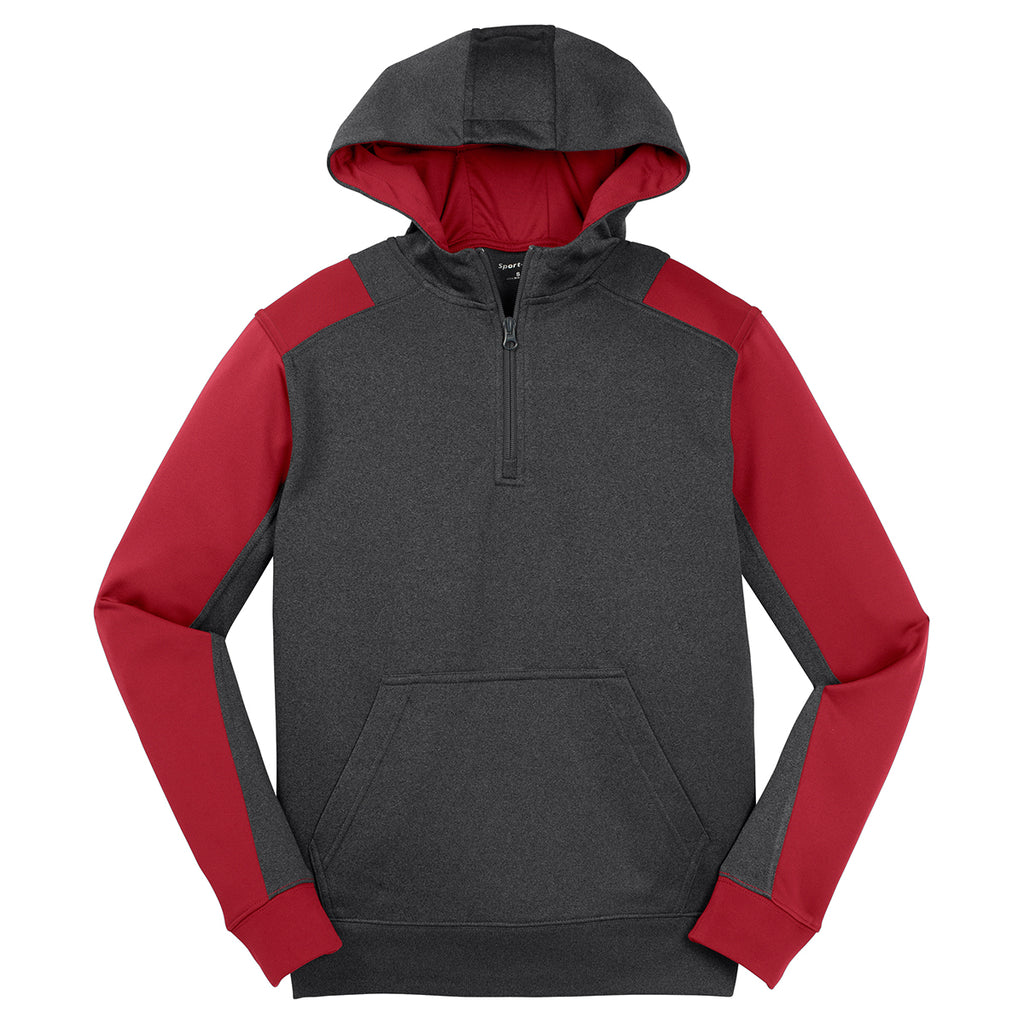 Sport-Tek/« Tech Fleece Colorblock 1//4-Zip Hooded Sweatshirt Graphite Heathe.