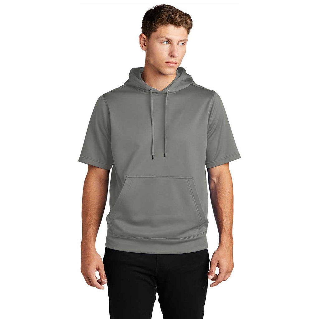 Sport-Tek Men's Dark Smoke Grey Sport-Wick Fleece Short Sleeve Pullover Hoodie