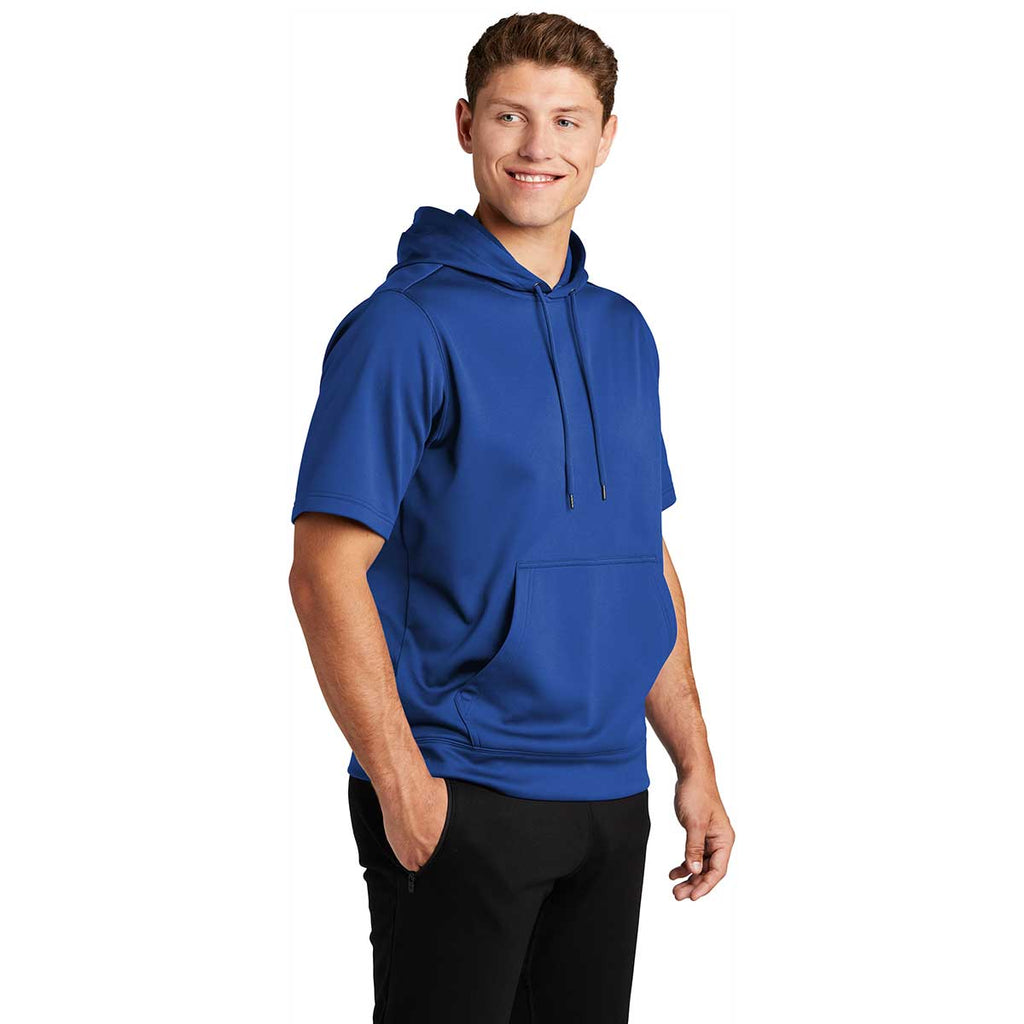 Sport-Tek Men's True Royal Sport-Wick Fleece Short Sleeve Pullover Hoodie