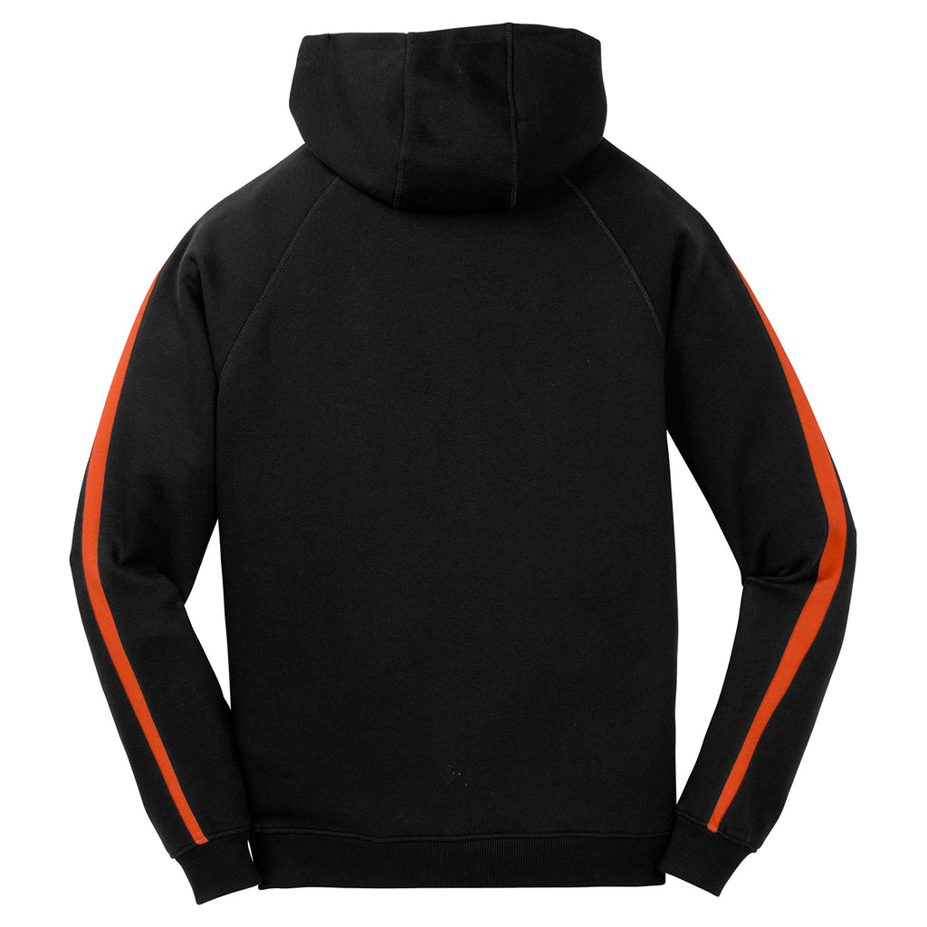 Sport-Tek Men's Black/ Deep Orange Sleeve Stripe Pullover Hooded Sweatshirt