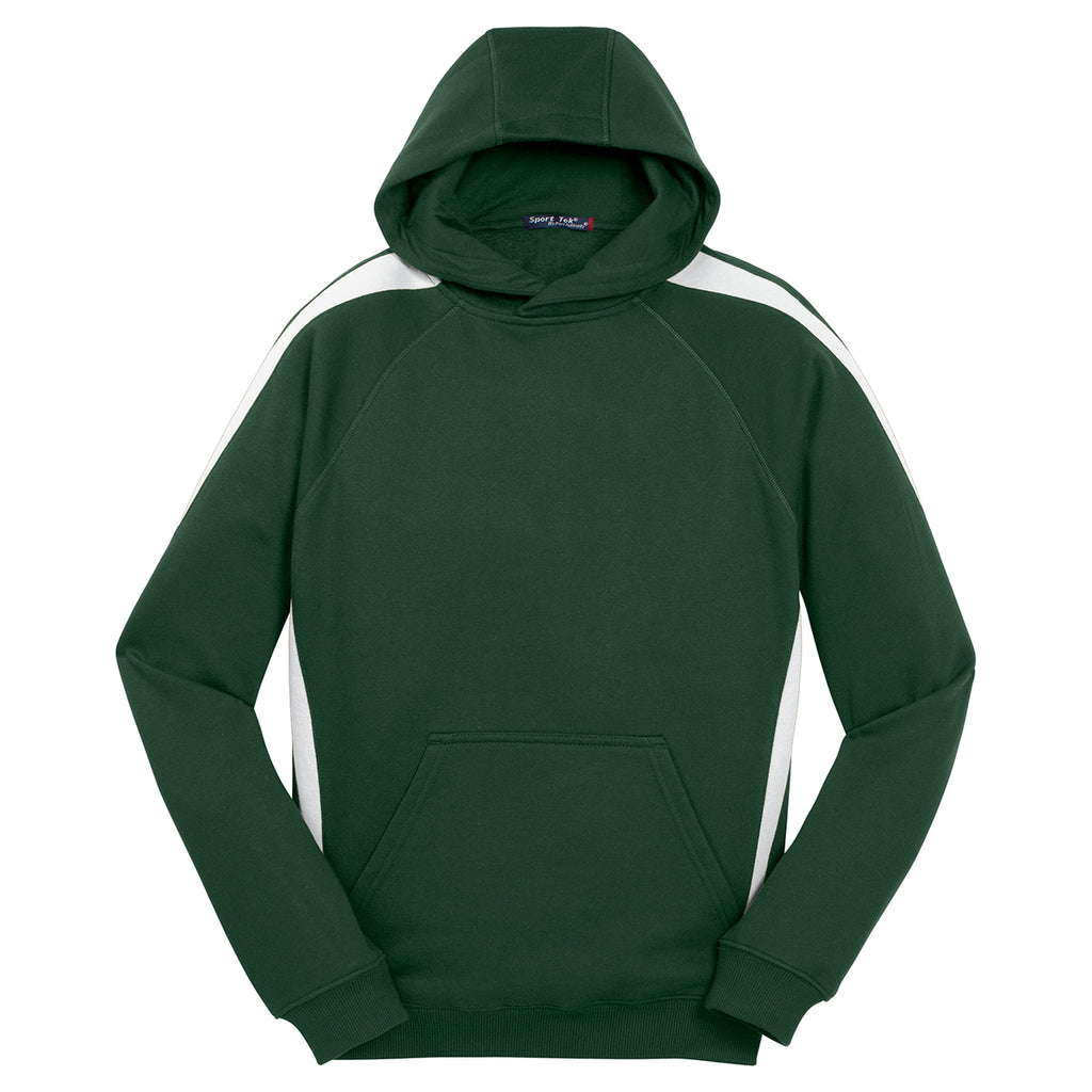 80f2f65db25 Sport-Tek Men s Forest Green  White Sleeve Stripe Pullover Hooded Sweatshirt.  ADD YOUR LOGO