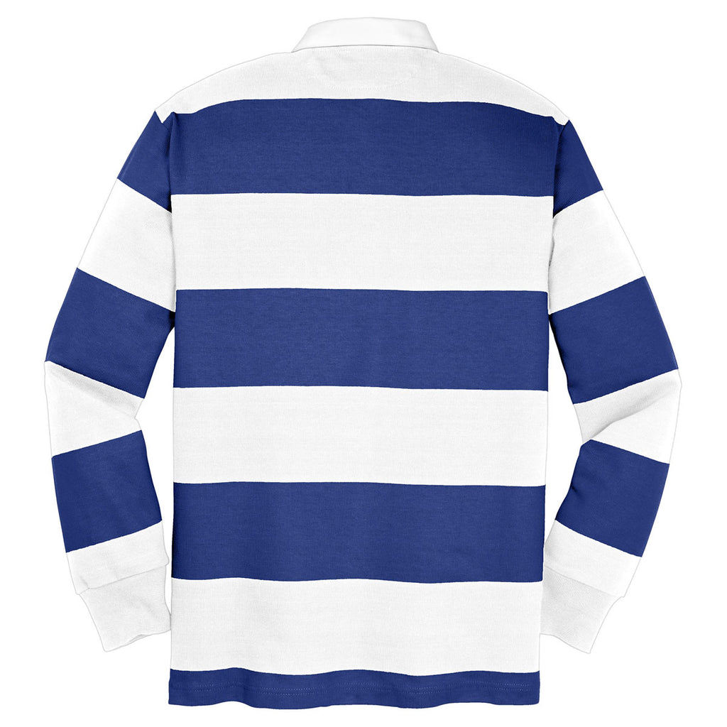 Sport-Tek Men's True Royal/White Classic Long Sleeve Rugby Polo