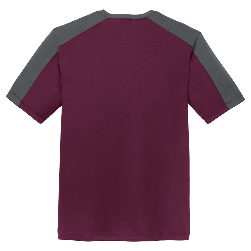 Sport-Tek Men's Maroon/ Iron Grey PosiCharge Competitor Sleeve-Blocked Tee