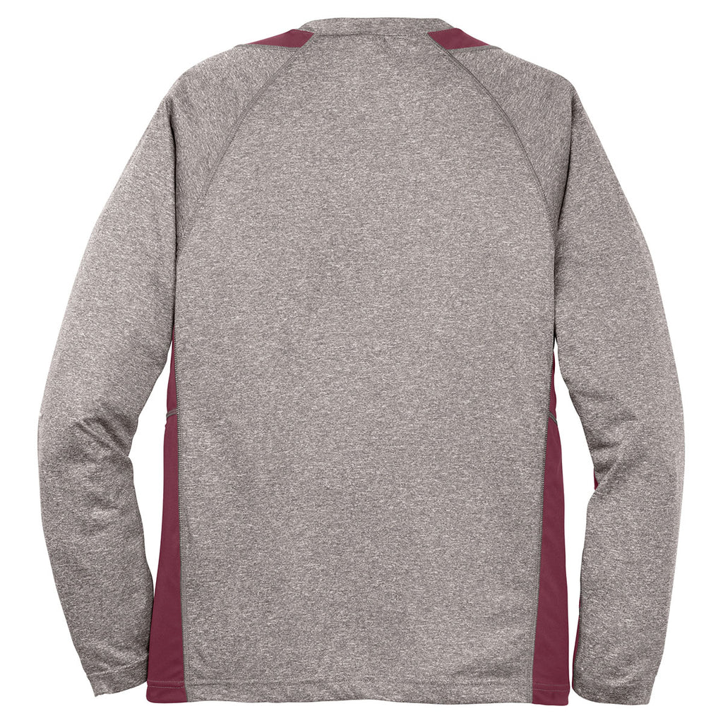 Sport-Tek Men's Vintage Heather/ Maroon Long Sleeve Heather Colorblock Contender Tee
