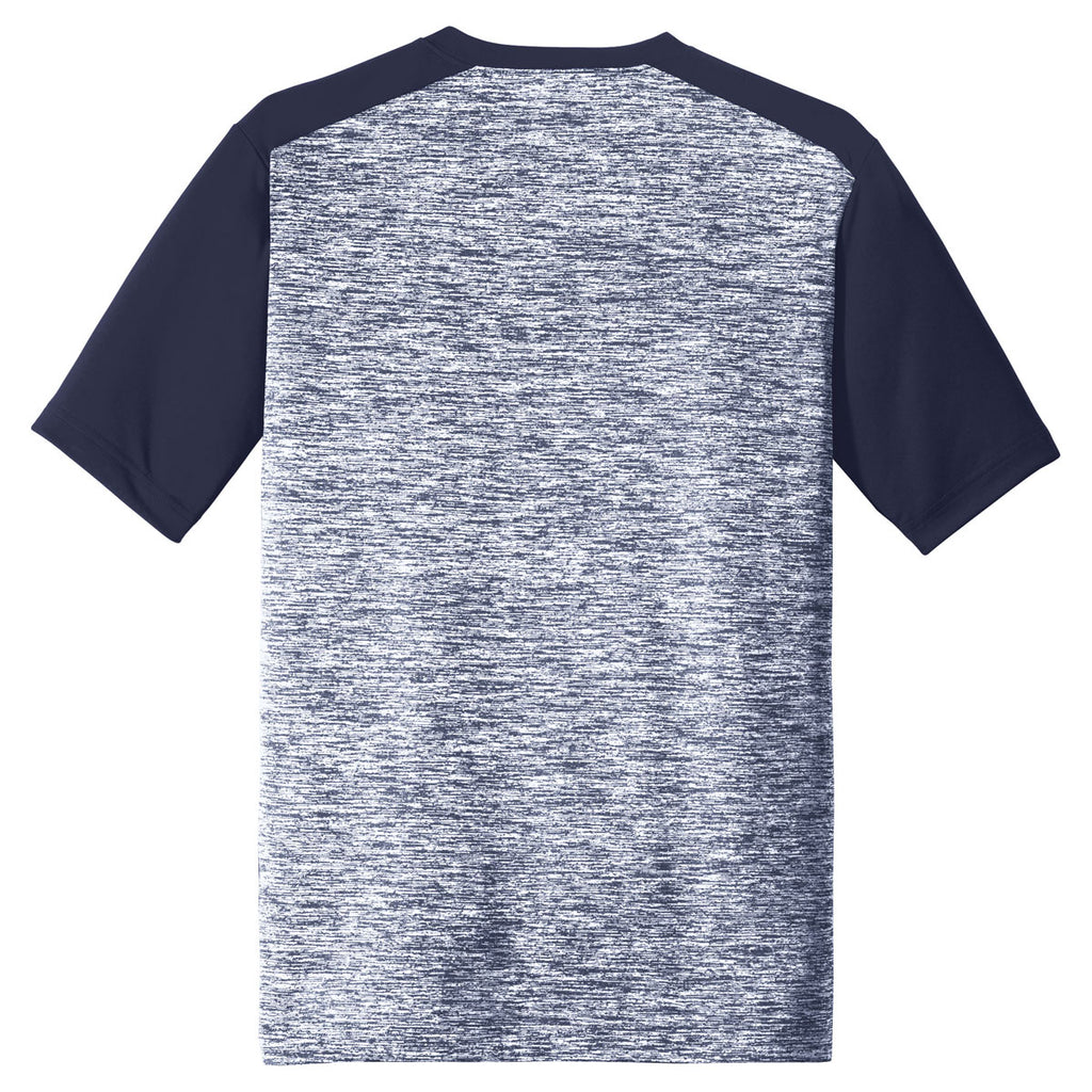 Sport-Tek Men's True Navy Electric/True Navy PosiCharge Electric Heather Colorblock Tee