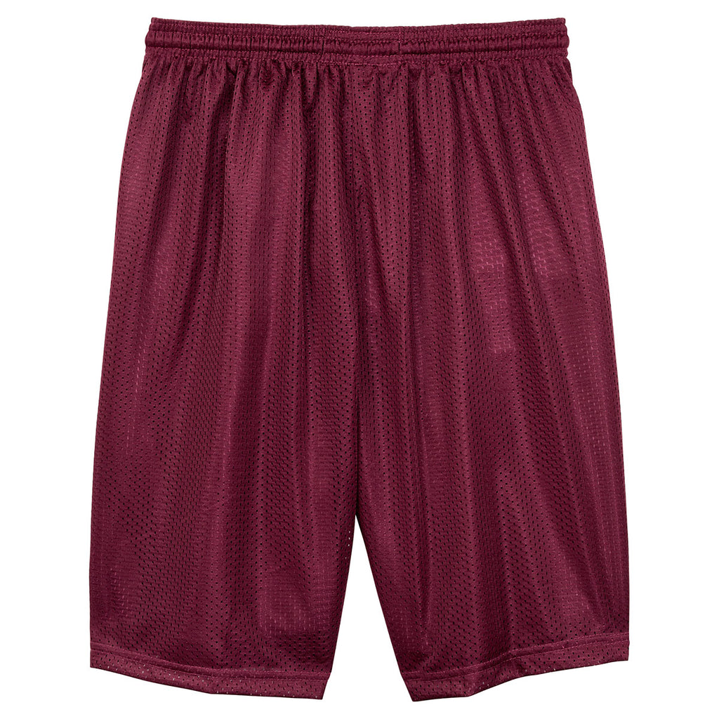 Sport-Tek Men's Maroon Long PosiCharge Classic Mesh Short
