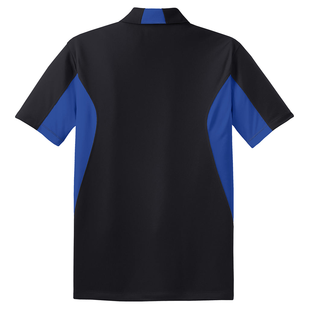 Sport-Tek Men's Black/True Royal Side Blocked Micropique Sport-Wick Polo
