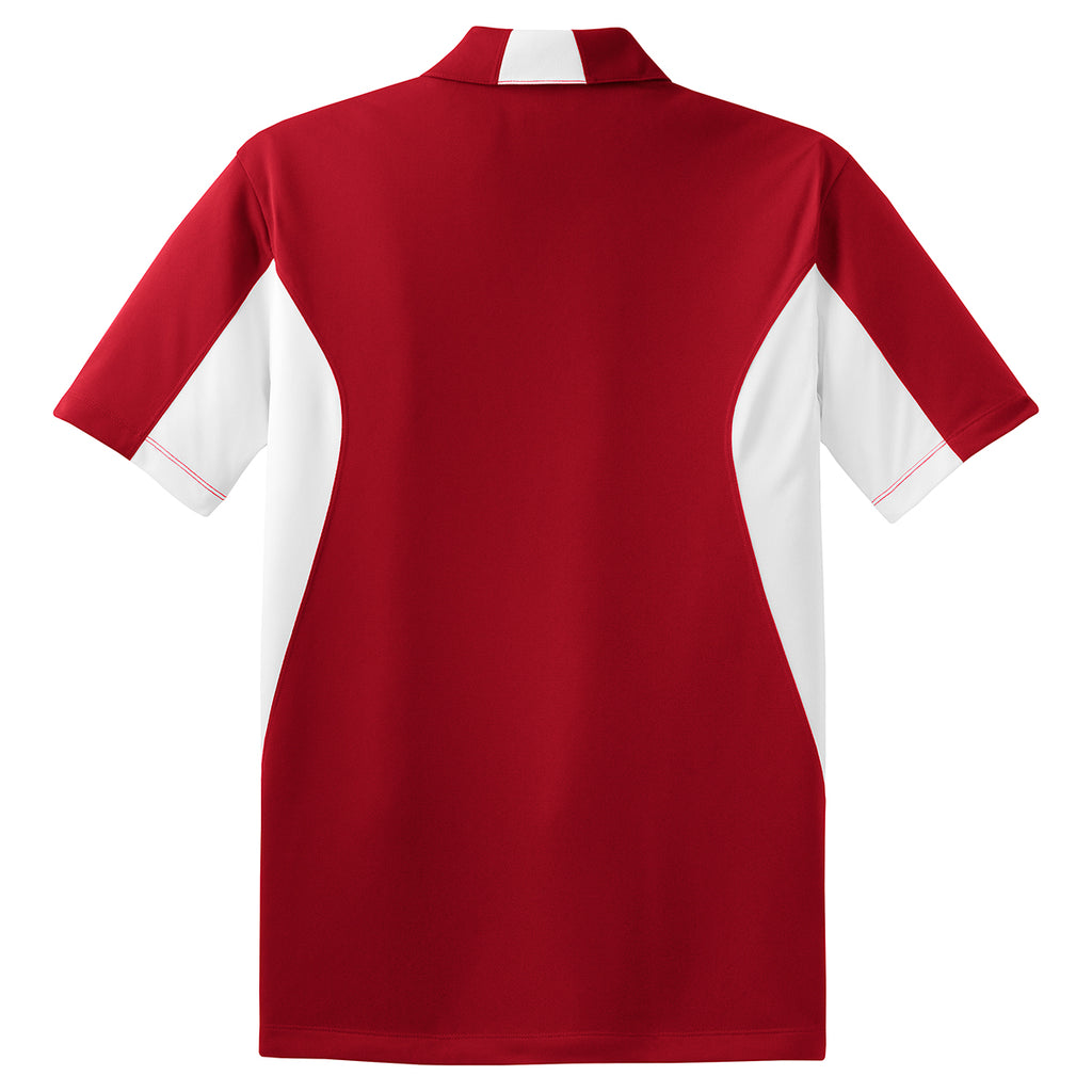 Sport-Tek Men's True Red/White Side Blocked Micropique Sport-Wick Polo