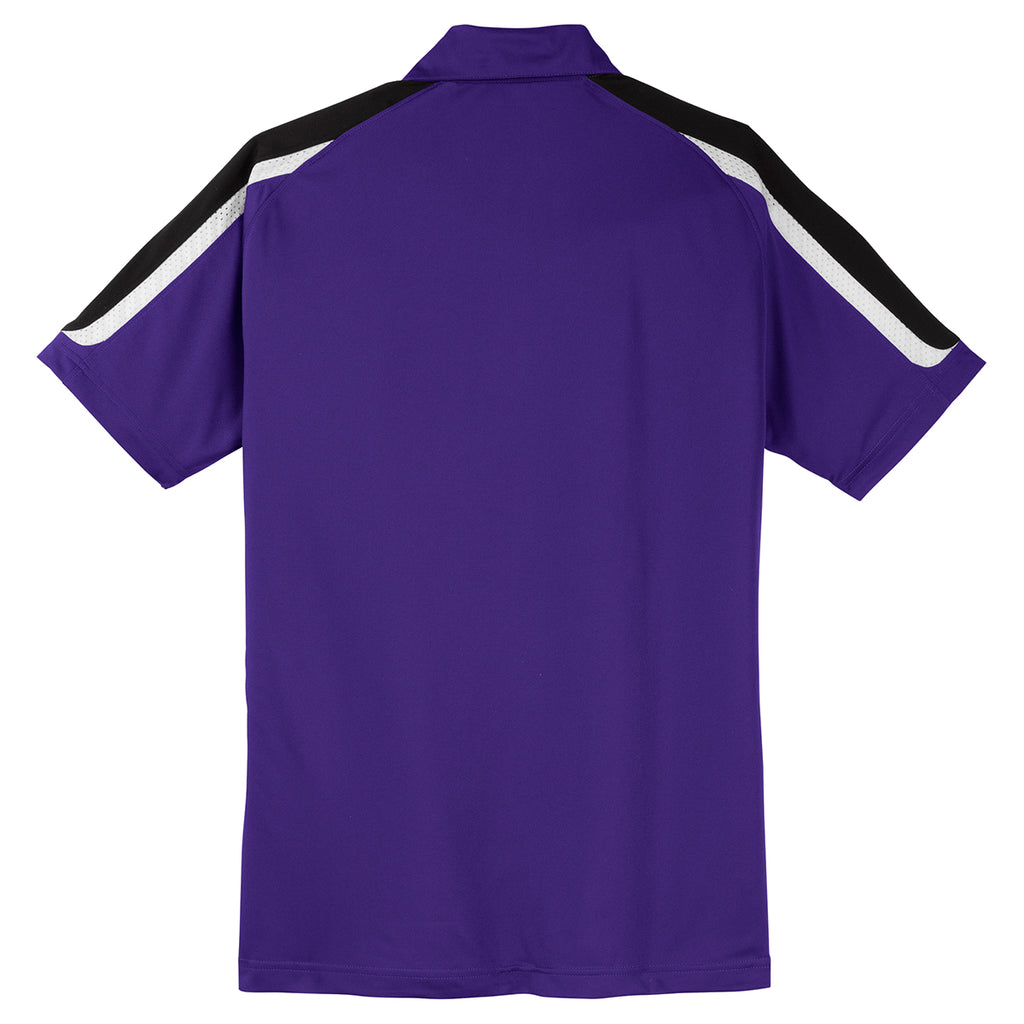 Sport-Tek Men's Purple/Black/White Tricolor Shoulder Micropique Sport-Wick Polo