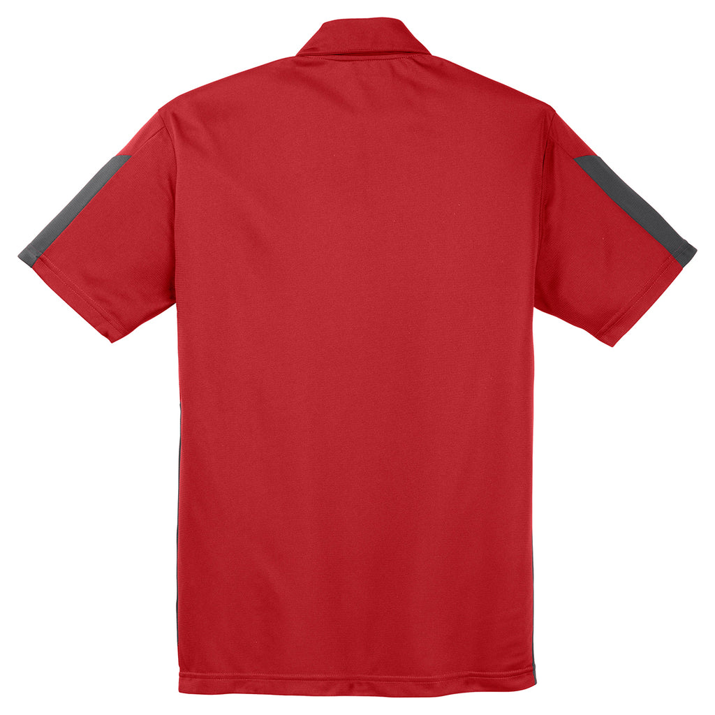 Sport-Tek Men's True Red/Grey PosiCharge Active Textured Colorblock Polo