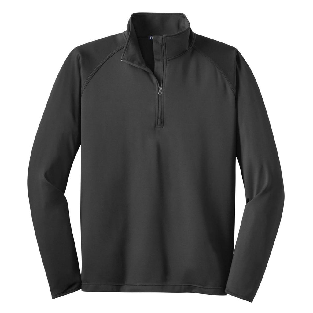 Sport-Tek Mens Sport Wick Stretch 1//2 Zip Pullover-Charcoal Grey Heather-Large
