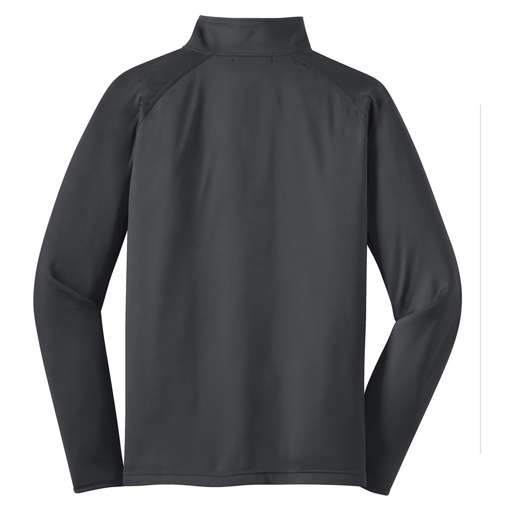 Sport-Tek Men's Charcoal Grey Sport-Wick Stretch 1/2-Zip Pullover
