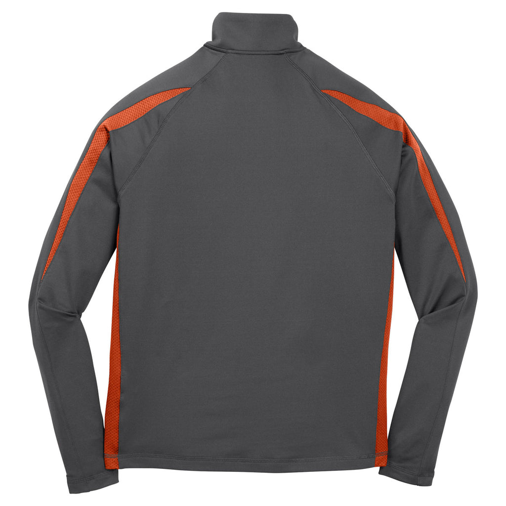 Sport-Tek Men's Charcoal Grey/ Deep Orange Sport-Wick Stretch 1/2-Zip Colorblock Pullover