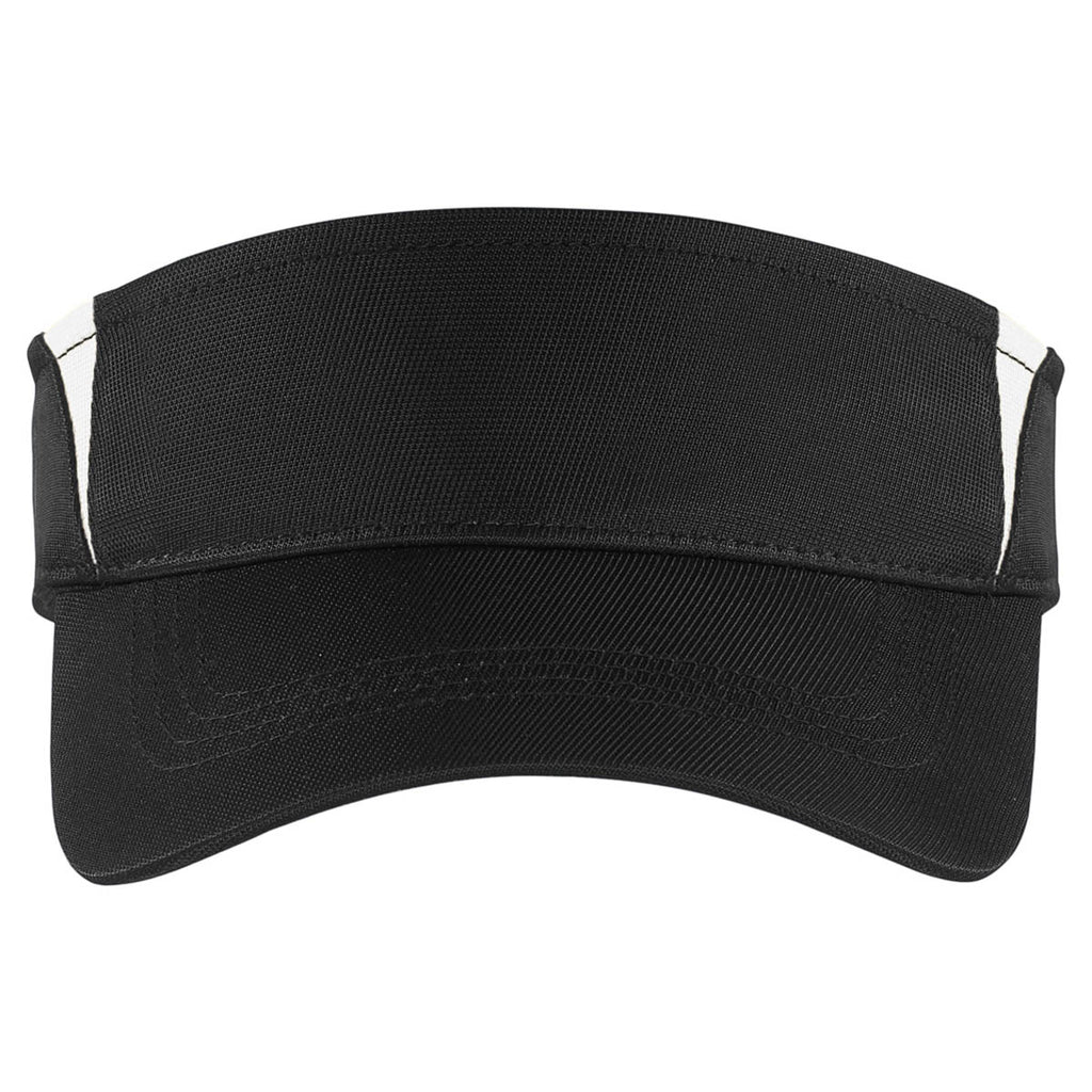 Sport-Tek Black/White Dry Zone Colorblock Visor