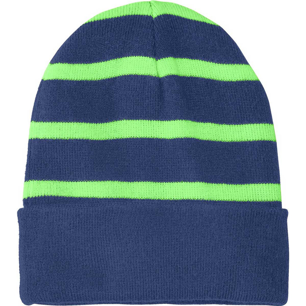 Sport-Tek Team Navy Flash Green Striped Beanie with Solid Band d0018ab0208
